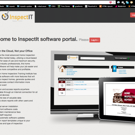 info and login page